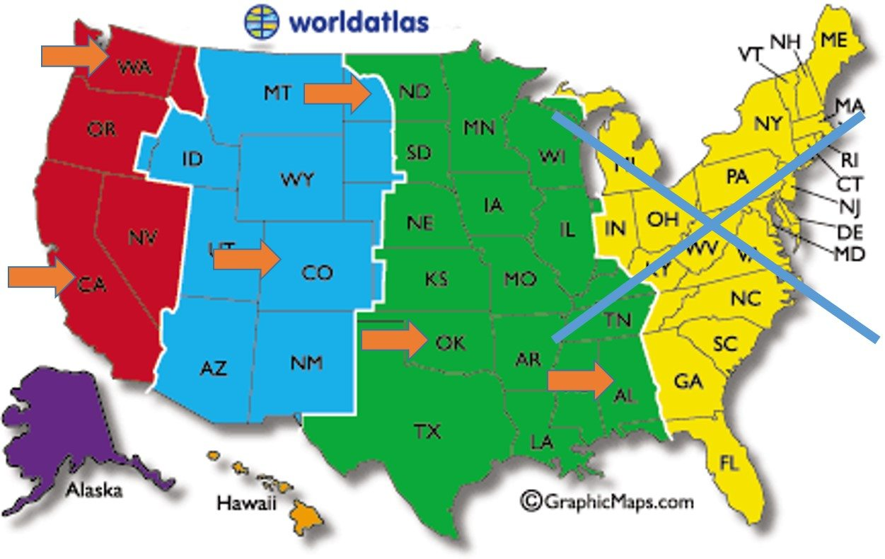USA States And Capitals Map Us Map Map Of The United States Of - Us time zone map 2015