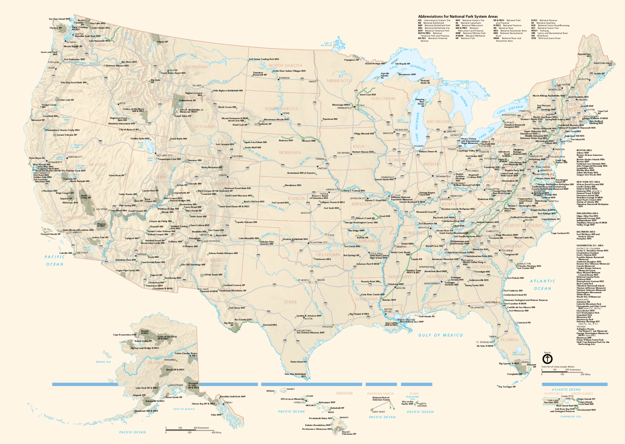 My Travel Bucket List - Us road map with national parks