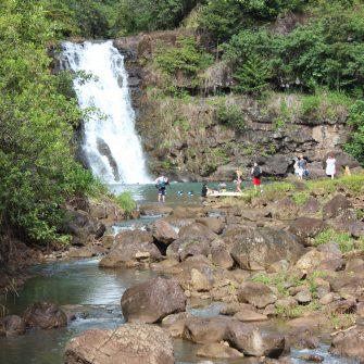 Hiking through Waimea Valley